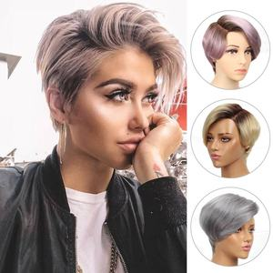 Rebecca Short Straight Hair Lace part wig Lace front Human Hair Wigs For Women Peruvian Remy hair Ombre Pink Blond Fashion wigs(China)