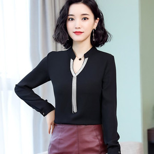 Image 2 - 2019 Spring new chiffon shirt women fashion V neck long sleeve slim temperament blouses office ladies work tops
