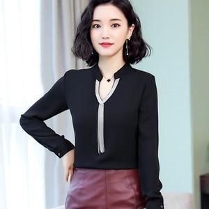 Image 2 - 2019 printemps nouvelle chemise en mousseline de soie femmes mode col en V à manches longues mince tempérament blouses bureau dames travail hauts
