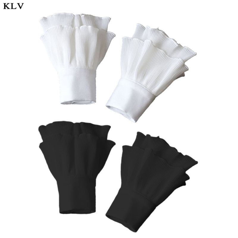 Japanese Women Girls Layered Ribbed Striped Horn Cuffs Agaric Ruffles Wrinkled Solid Color Detachable Fake Sleeve Wrist Warmer