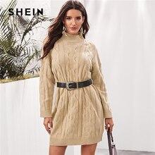 שיין חאקי גבוהה צוואר כבל לסרוג סוודר שמלה עם חגורה נשים סתיו החורף ארוך שרוול סרוג ישר מיני מזדמן שמלות