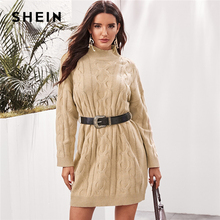 SHEIN Khaki High Neck Kabel Stricken Pullover Kleid Mit Gürtel Frauen Herbst Winter Lange Hülse Strickte Gerade Mini Casual Kleider