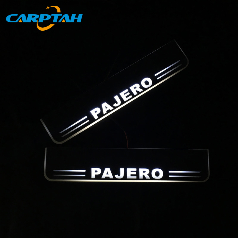 CARPTAH Trim Pedal Car Exterior Parts LED Door Sill Scuff Plate Pathway Dynamic Streamer light For Mitsubishi Pajero 2016   2018 Nerf Bars & Running Boards Automobiles & Motorcycles - title=