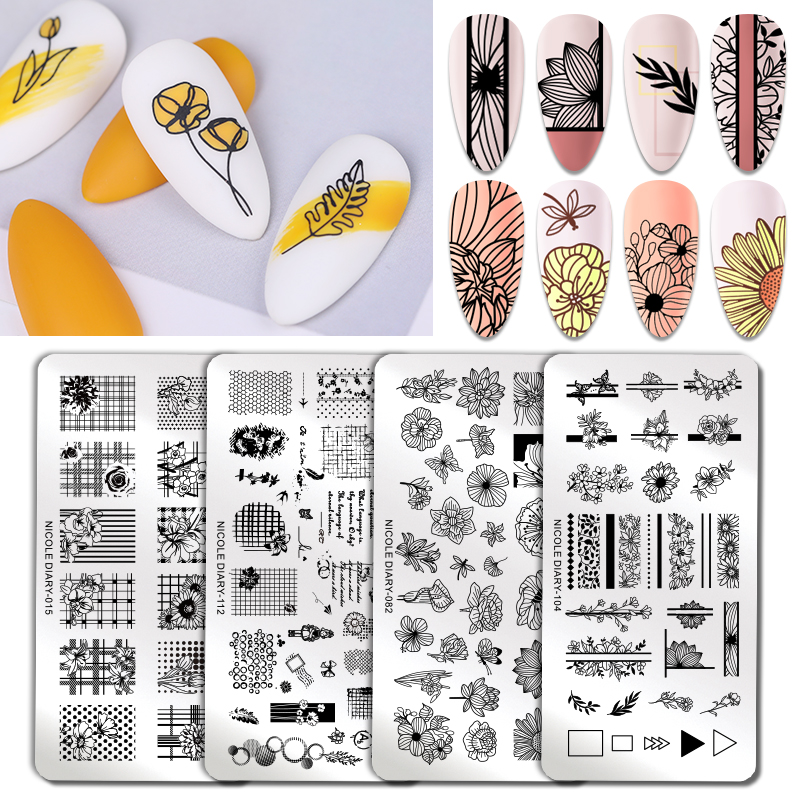 NICOLE DAIRY Flower Plants Nail Art Stamp Nail Stamping Template Floral Designs DIY Image Plate Stencil  Printing Tool