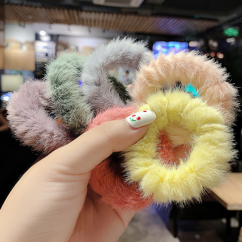 New Women Sweet Colorful True Fur Soft Elastic Hair Bands Winter Headband Rubber Bands Ponytail Holder Fashion Hair Accessories
