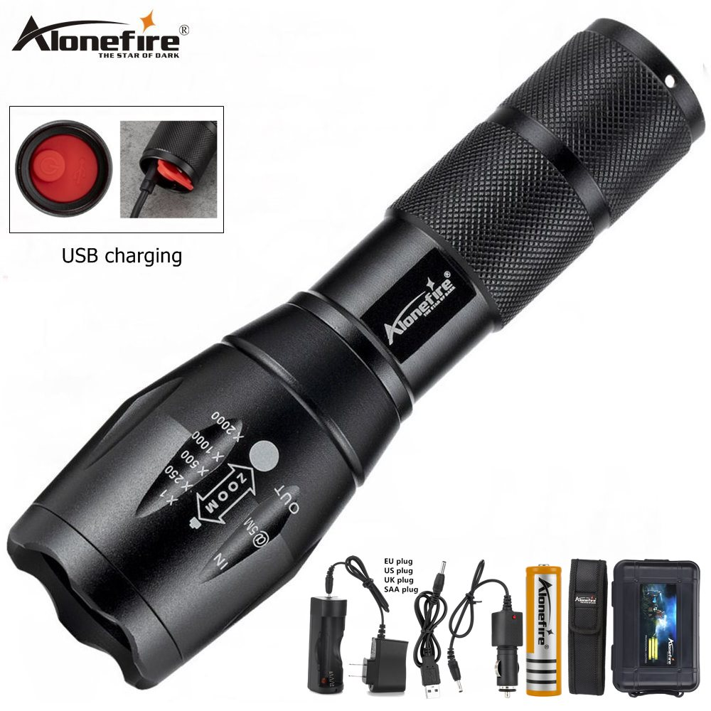 Alonefire G700-C Led flashlight Ultra Bright torch T6/L2/V6 Camping light USB rechargeable waterproof Zoomable Bicycle Light