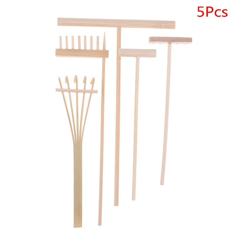 New 4/5Pcs Good Quality Bamboo Zen Garden Rake Meditation Tools Home Decor Relaxation Handcrafted 2 Styles