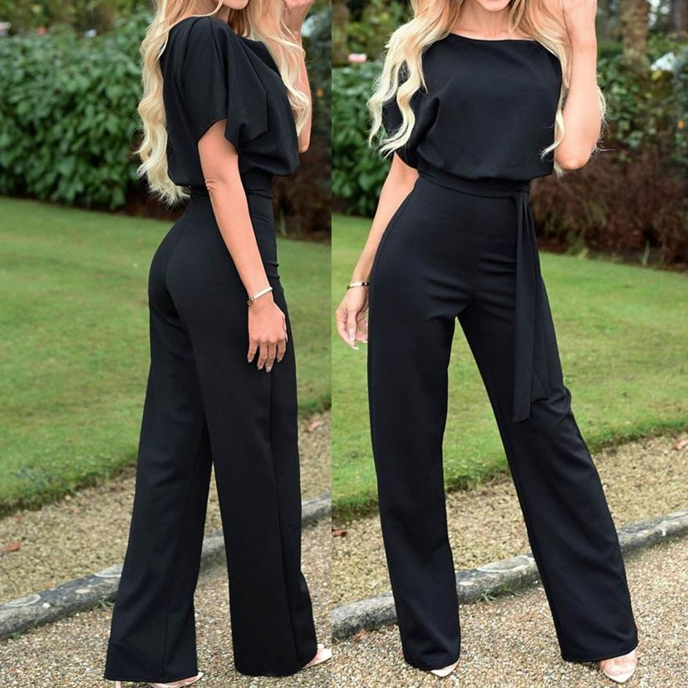 Juesi Womens Loose Jumpsuit Casual Solid V Neck High Waisted Bandage Wide Leg Pants Elegant Playsuit