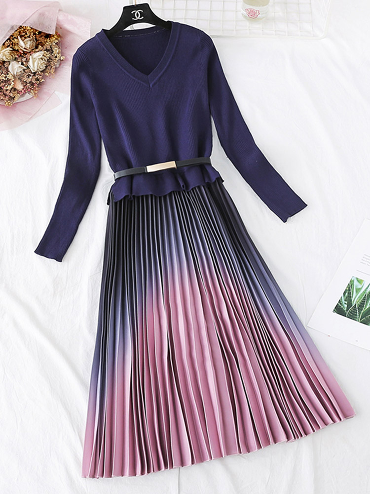 Pleated-Dress Belt Long-Sleeve Patchwork Knitted Office Gradient Pink One-Piece Elegant