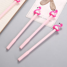 LHX 3 Pcs Kawaii Cartoon Writing Pen Lucky Pink Flamingo Gel Pen Signature Pen School Office Supply HP1565 hh(China)