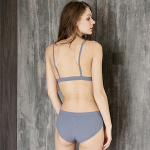 Image 4 - 패션 여성 브래지어 팬티 세트 섹시 푸시 란제리 세트 무선 브래지어 낮은 허리 간략한 코튼 속옷 세트