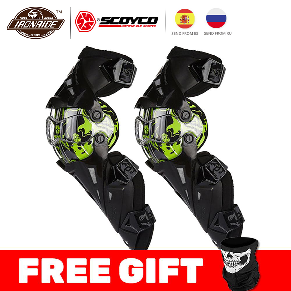 SCOYCO Motorcycle Knee Pads Protector ATV Motocross Knee Pads Sports Scooter Motor-Racing Guard Safety Knee Pads Ski Guards