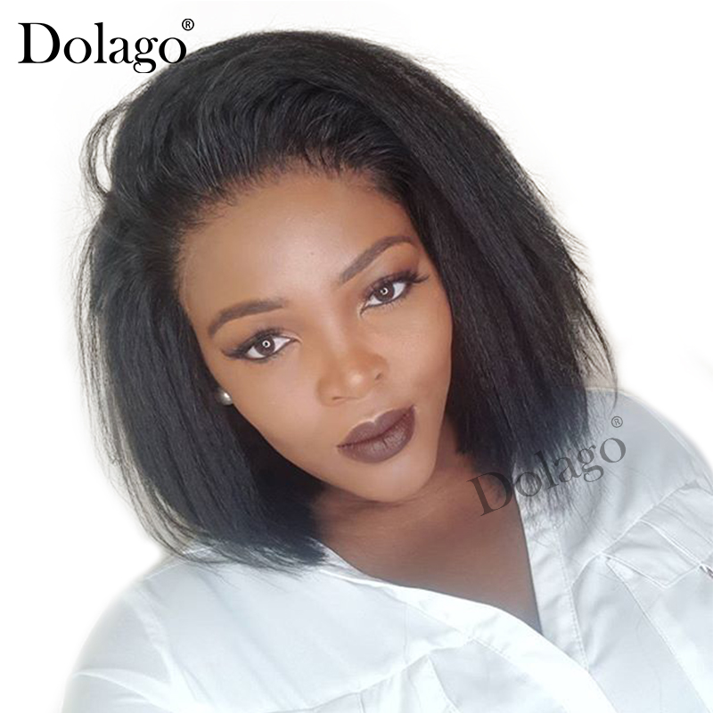 Kinky Straight 13x6 Lace Front Human Hair Wigs For Women 180 Density Coarse Yaki Brazilian 360 Short Bob Wig Dolago Black Full