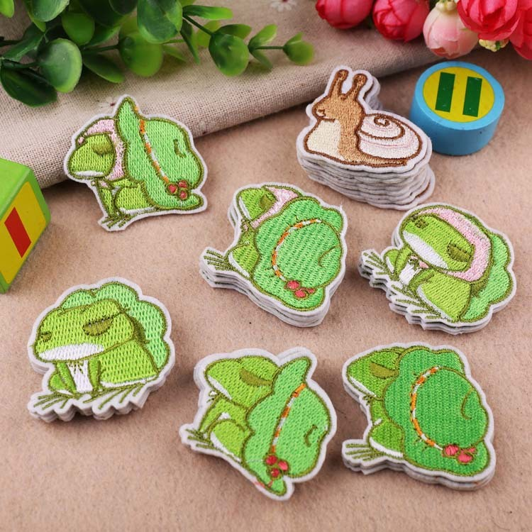 High-quality Cartoon Little Animal Patches Cute The Frog Embroidery Appliques for Clothes Iron Badges for Kids Stickers