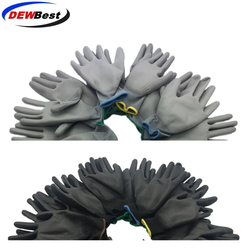 Рабочие защитные перчатки DEWBest для мужчин и женщин, гибкие нейлоновые безопасные рабочие перчатки синего цвета из полиэстера, 12 пар, f9