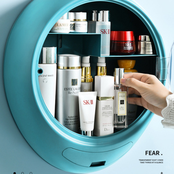 NEW Bathroom Wall-mounted Makeup Organizer Punch-free Large Capacity Jewelry Cosmetic Storage Box Women Skin Care Beauty Rack