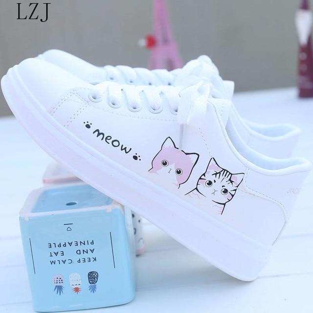 Women Sneakers Fashion Breathble Vulcanized Shoes Pu Cute Cat Cartoon Lace Up Casual White Women Shoes Zapatos De Mujer