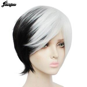 Image 3 - Ebingoo Peluca de Cruella Deville para mujer flequillo lateral medio blanco en capas negras, Cosplay, peluca sintética para mujer, fiesta, Halloween, gorro de peluca