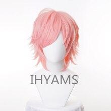 Anime Yarichin Bitch Bu Club Ayato Yuri Pink Short Cosplay Wig Cosplay Halloween Role Playing + Free Wig Cap
