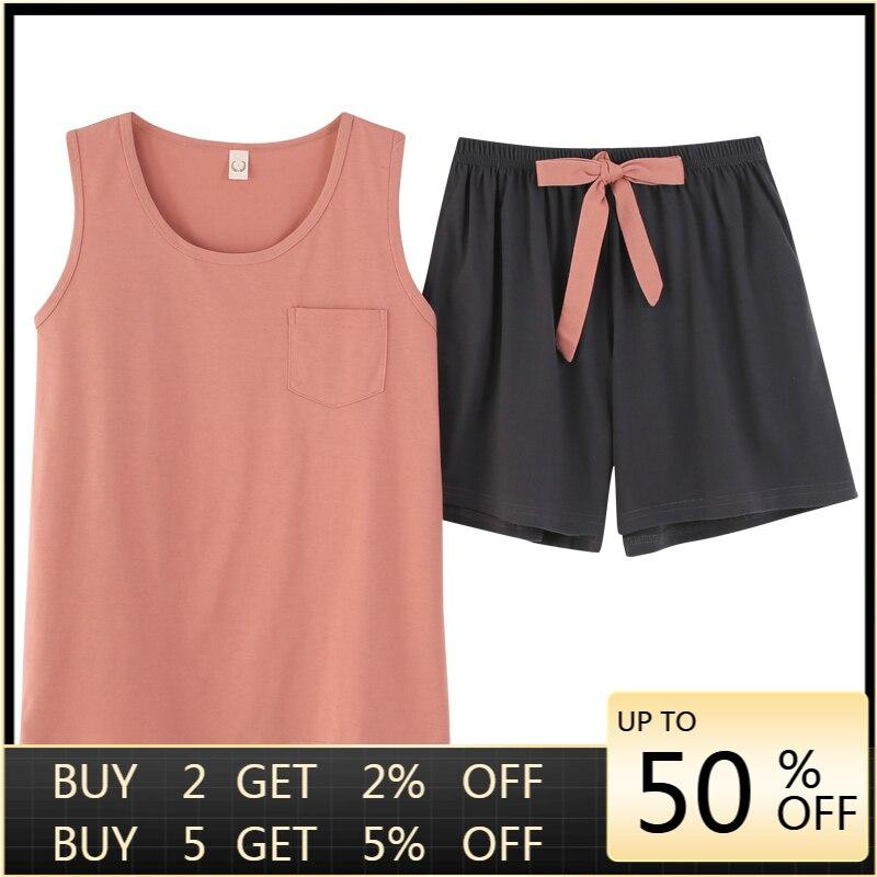 Women Pajamas Ribbon Summer Shorts Cotton Sleeveless New Mujer Pullover Decorated