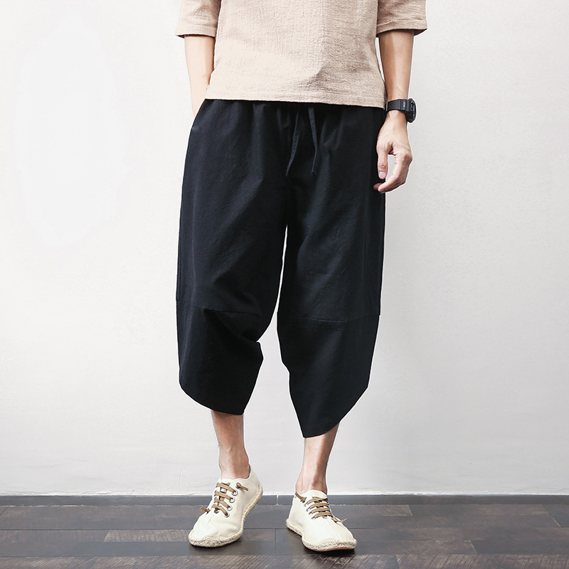 2019 New Style Flax Chinese-style Loose-Fit Athletic Pants Beam Leg Cotton Pants Large Size Men's Capri Harem Pants Harem Pants