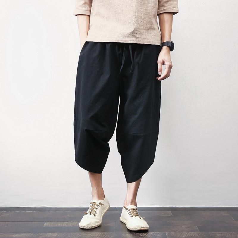 2019 New Style Flax Chinese-style Loose-Fit Athletic Pants Beam Leg Cotton Pants Large Size Men's Capri Harem Pants Harem Pants