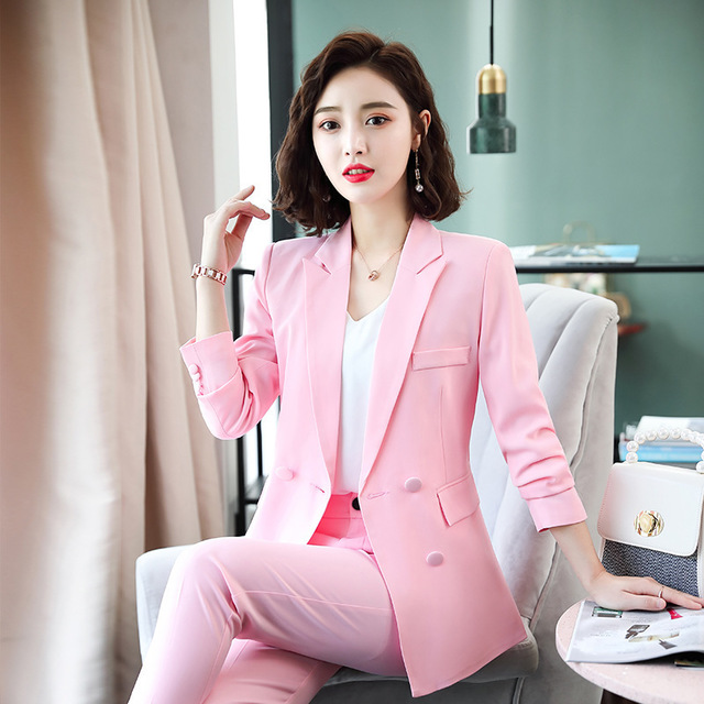 Ladies Office Work Suit Pink Red Black Double Breasted Blazer Trouser Set Fashion Business Pant Suits for Women Formal Pantsuit