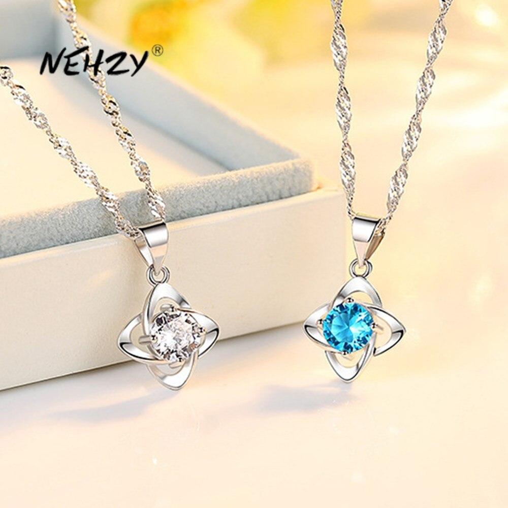 NEHZY 925 en argent Sterling nouvelle femme bijoux de mode de haute qualité cristal Zircon quatre feuilles trèfle pendentif collier longueur 45CM