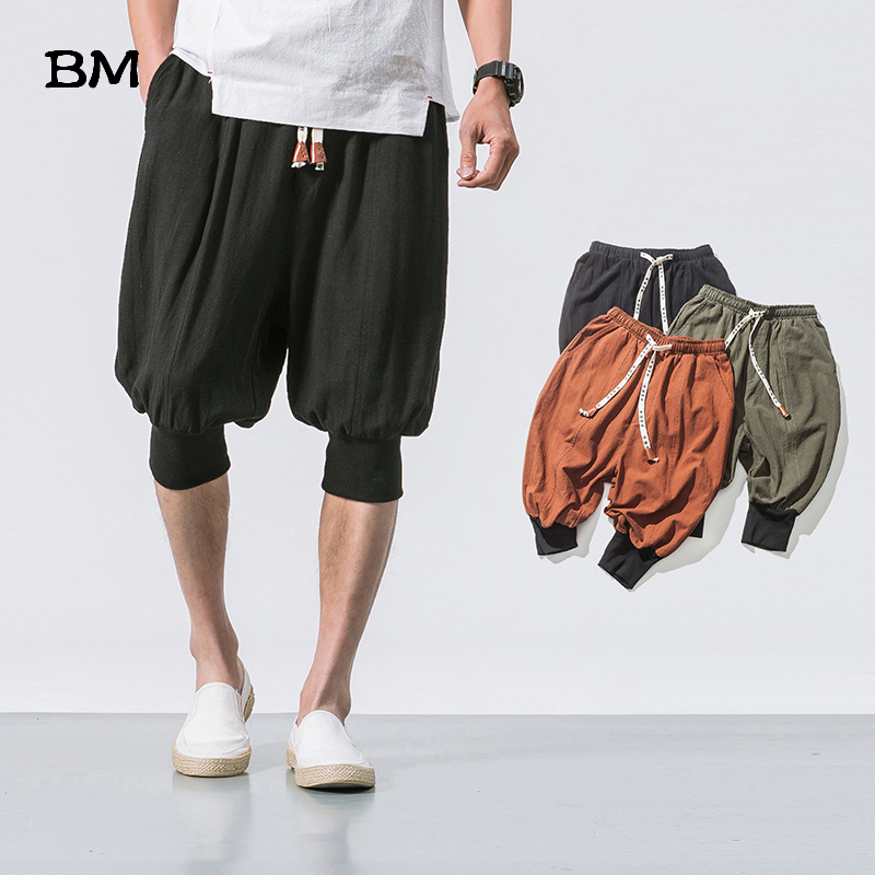 2020 Summer Chinese Style Men Loose Cotton Linen Shorts Trousers Male Bermuda Harajuku Casual Board Shorts Breeches
