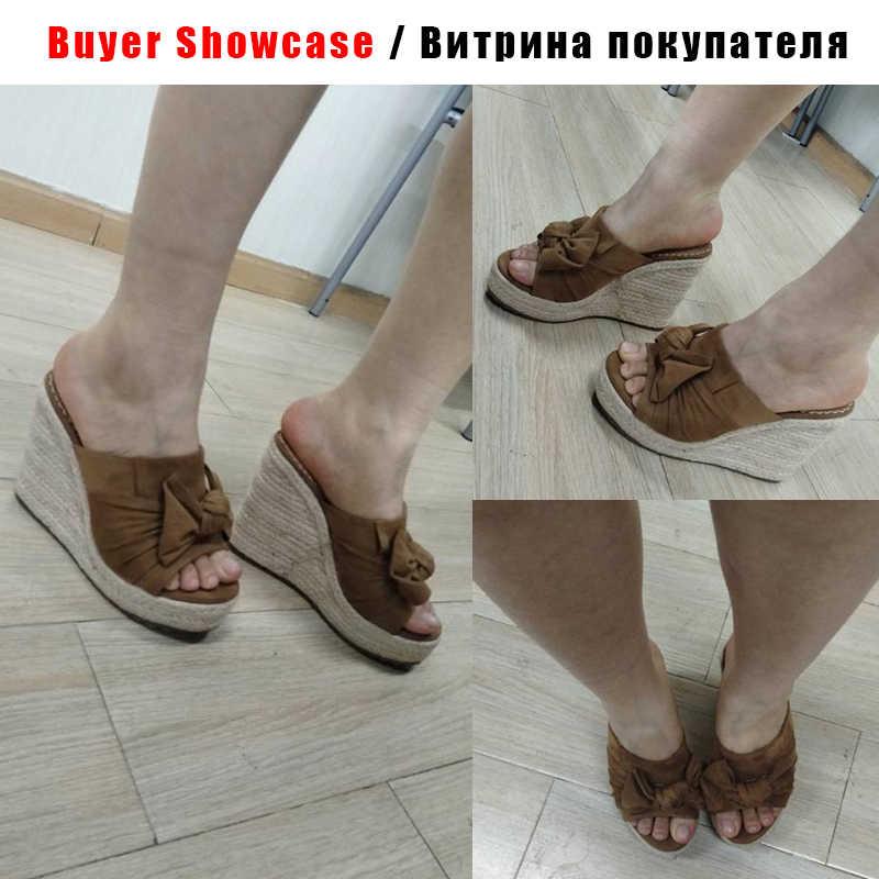 Tatlı kelebek düğüm sandalet üzerinde kayma moda yaz Espadrille kama topuklu ayakkabılar kadın burnu açık platformu parti rahat sandalet