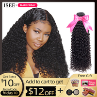 ISEE HAIR Mongolian Kinky Curly Hair Bundles Remy Human Hair Extensions Nature Color Buy 1/3/4 Bundles Thick Kinky Curly Bundles