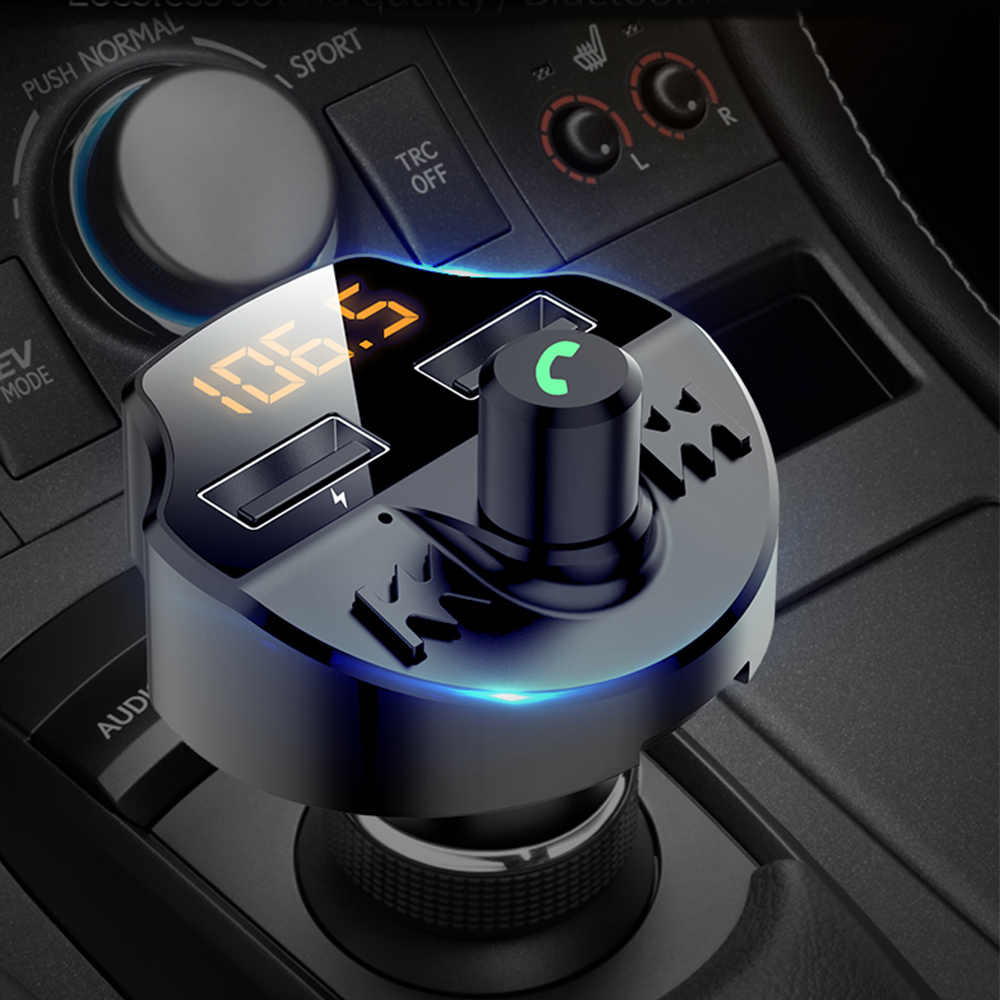 Mobil FM Transmitter Bluetooth 5.0 Mobil Mp3 Player Modulator Adapter Tegangan TF Card Hands-Free Dual USB Smart chip T66
