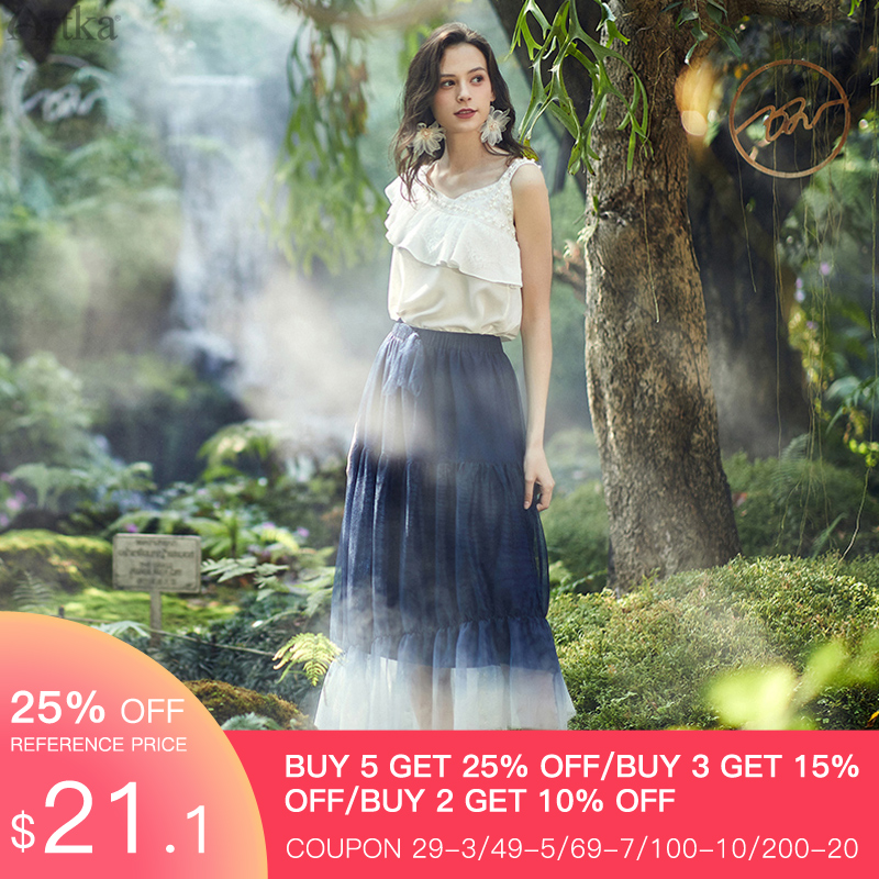 ARTKA 2020 Spring Summer New Women Skirt Elegant Gradient Mesh Skirts Elastic Waist Irregularly Ruffled Long Skirt QA25101C