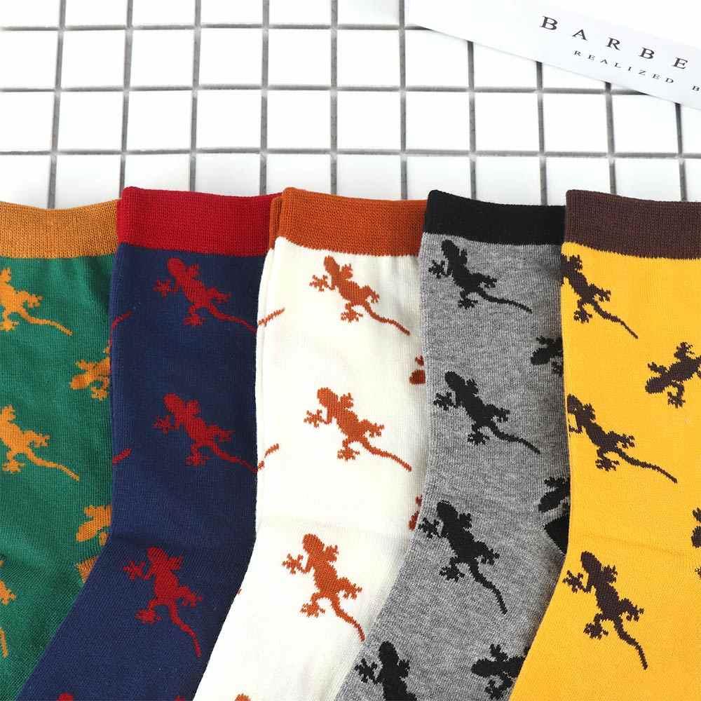 Pamuk Karikatür Hayvan Yenilik Erkekler Çorap Kertenkele Gecko Desen Rahat Çorap Nakış Orta Tüp Çorap 1 Çift
