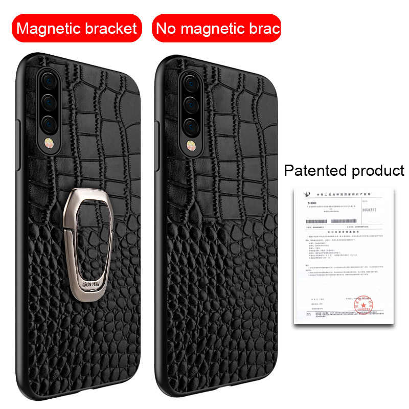 Asli Kulit Magnetic Kickstand Case untuk Samsung Galaxy A50 A70 A40 A30 A80 A51 S9 S8 S7 S20 Ultra S10 plus Catatan 10 Plus 8 9 S10E S8 Plus S7 Edge Note 9 A10 A20 A40 A60 A30 A80 A20S A30S A50S A7 A8 2018