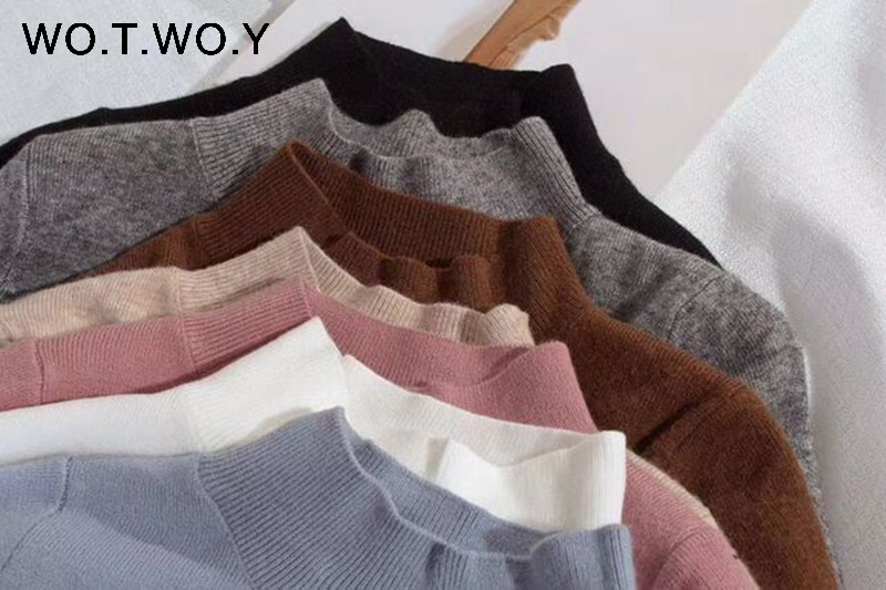 WOTWOY 19 Cashmere Knitted Women Sweater Pullovers Turtleneck Autumn Winter Basic Women Sweaters Korean Style Slim Fit Black 10