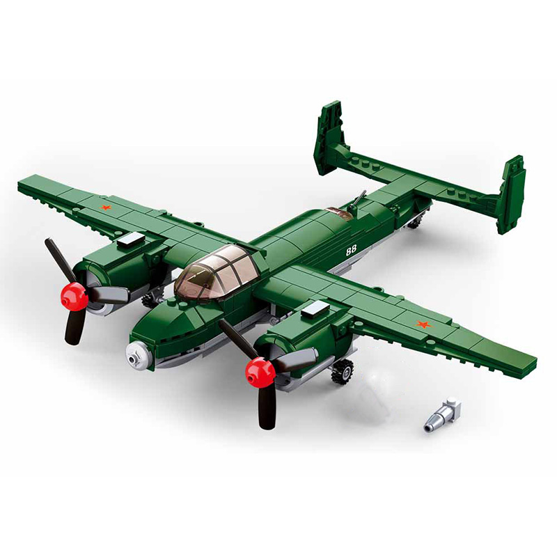 Military series World War II Russia <font><b>Tupolev</b></font> Tu-2 Bomber soldier weapon DIY Model Building Blocks Toys Gifts image