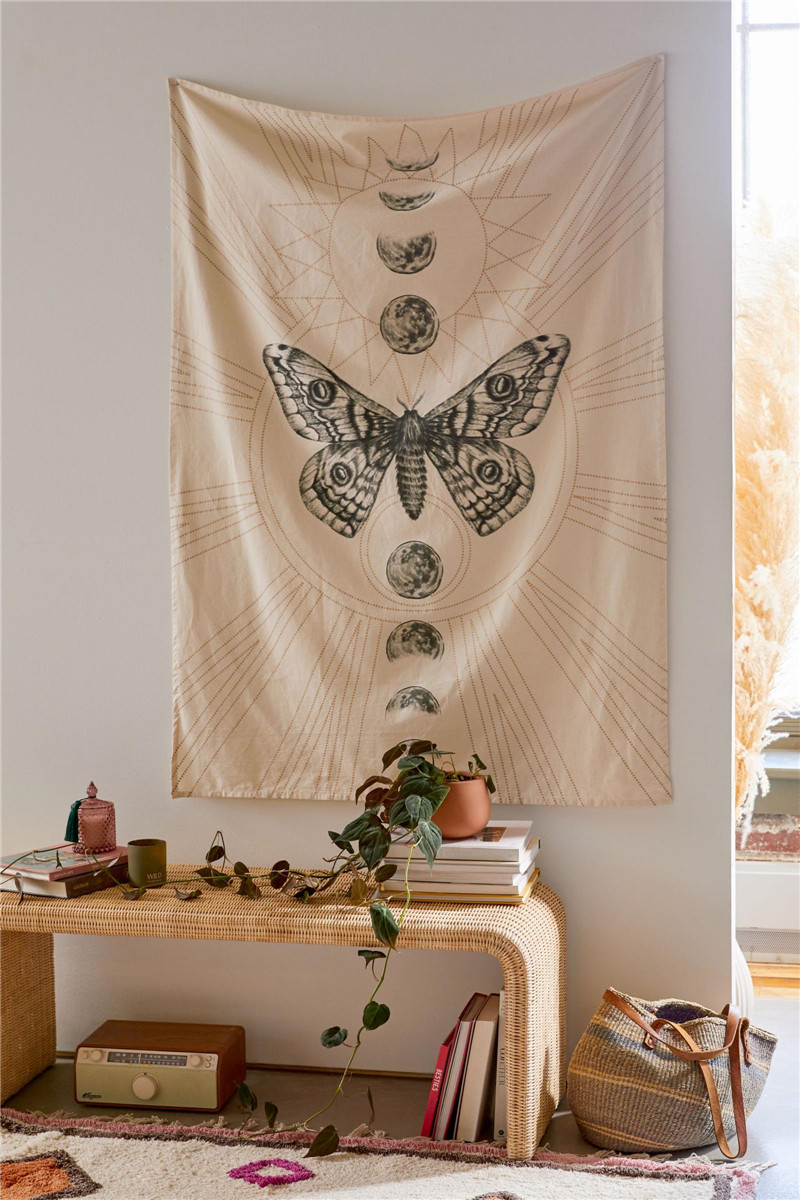 Dropshipping Moon Moth Tapestry Wall Hanging Hippie Home Decor Blanket Polyester Fabric Bedroom 180×230CM With 6M LED Light