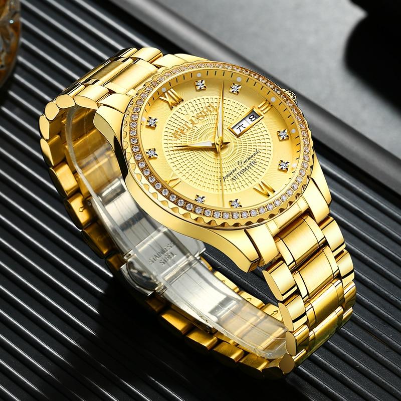 Top Luxury Fashion Luminous Quartz Watch Stainless Steel Waterproof Business Sports Diamond Gold Men