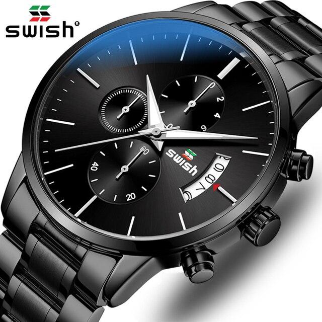 SWISH zegarek mężczyźni 2020 wodoodporna stal nierdzewna moda Sport zegarek kwarcowy zegar zegarki męskie Top marka Luxury Man zegarek