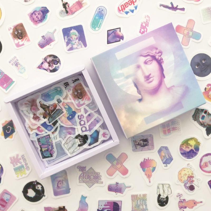 200 Pcs/pack Vaporwave Journal Decorative Box Stickers Scrapbooking Stick Label Diary Album Stationery Retro Girl Sticker