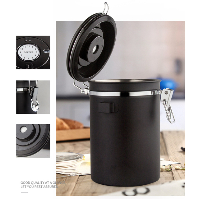 Airtight Stainless Steel Sealed Can Tea Sugar Coffee Canister With Spoon Jar date Keeper Storage Container Portable Storage Box 2