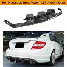Автомобильный задний бампер диффузор для Mercedes-Benz W204 C63 AMG 4 двери только 2009-2011 диффузор бампера из углеродного волокна спойлер