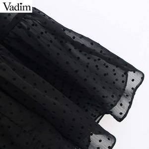 Image 4 - فستان نسائي من Vadim بتصميم أنيق من الشيفون باللون الأسود متوسط الطول بأكمام قصيرة فساتين نسائية أنيقة بتصميم منتصف الساق فساتين صيفية QD116