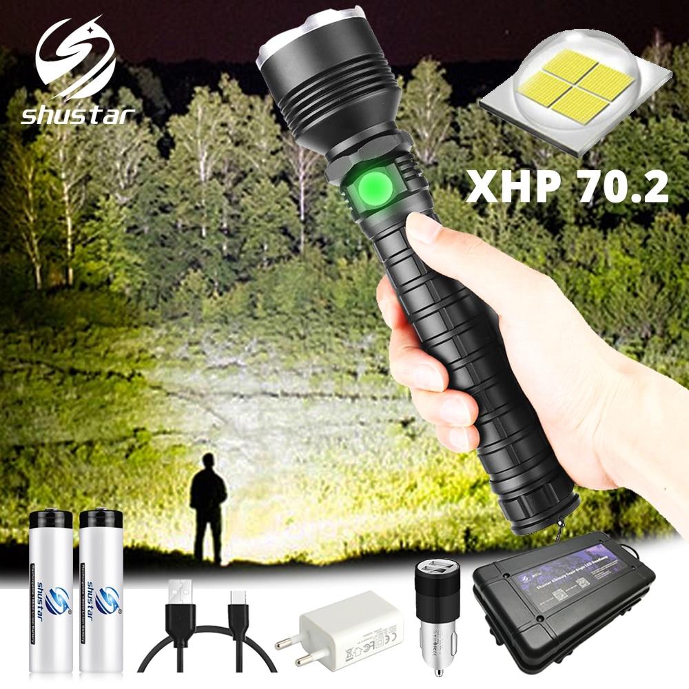 Poderoso XHP70 LEVOU Lanterna À Prova D' Água LED Torch zoom Apoio 5 modos de iluminação Alimentado por 18650 ou 26650 bateria Para ao ar livre
