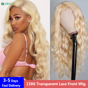 Virgo Body Wave 13X4 13X6 HD Transparent Blonde Lace Front Wig Pre Plucked 613 HD Lace Front Wig Human Hair Wigs For Women Remy(China)