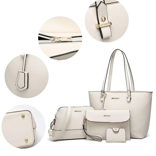 4Pcs Travel Pu Leather white Handbags Hasp  Solid Color Shoulder Messenger Bag Wallet Pouch Bags For women 2020  3