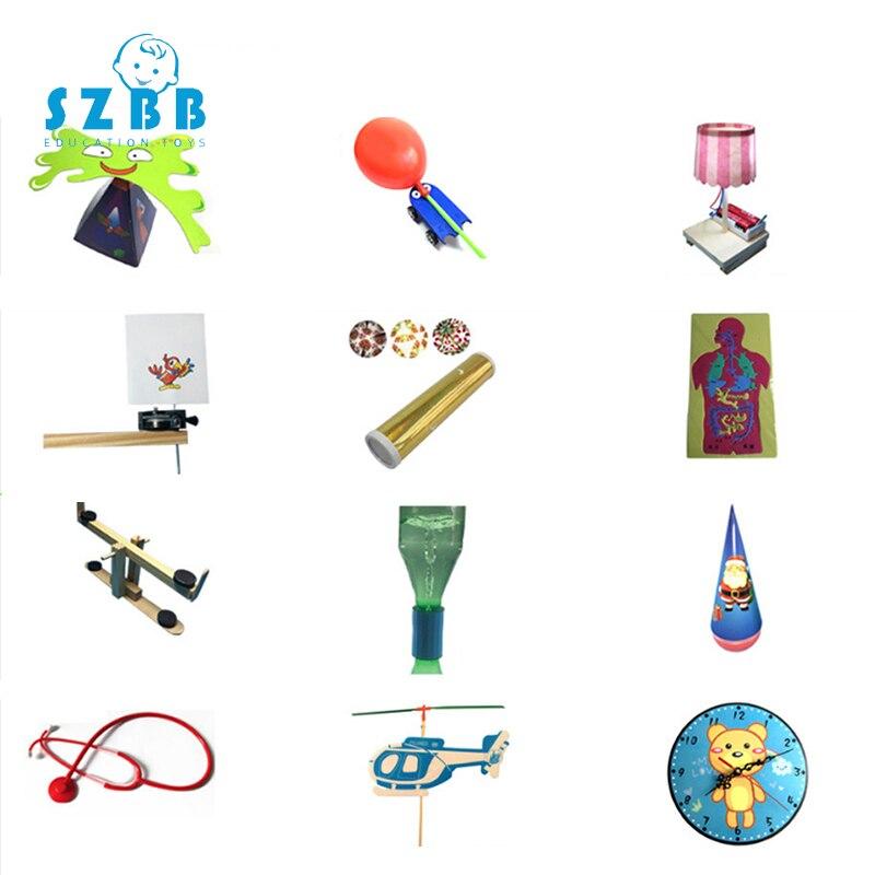 Sz Steam 12pcskids bricolage tige éducation Science jouets expériences assembler des modèles de physique Kit créatif cadeau éducatif pour les enfants