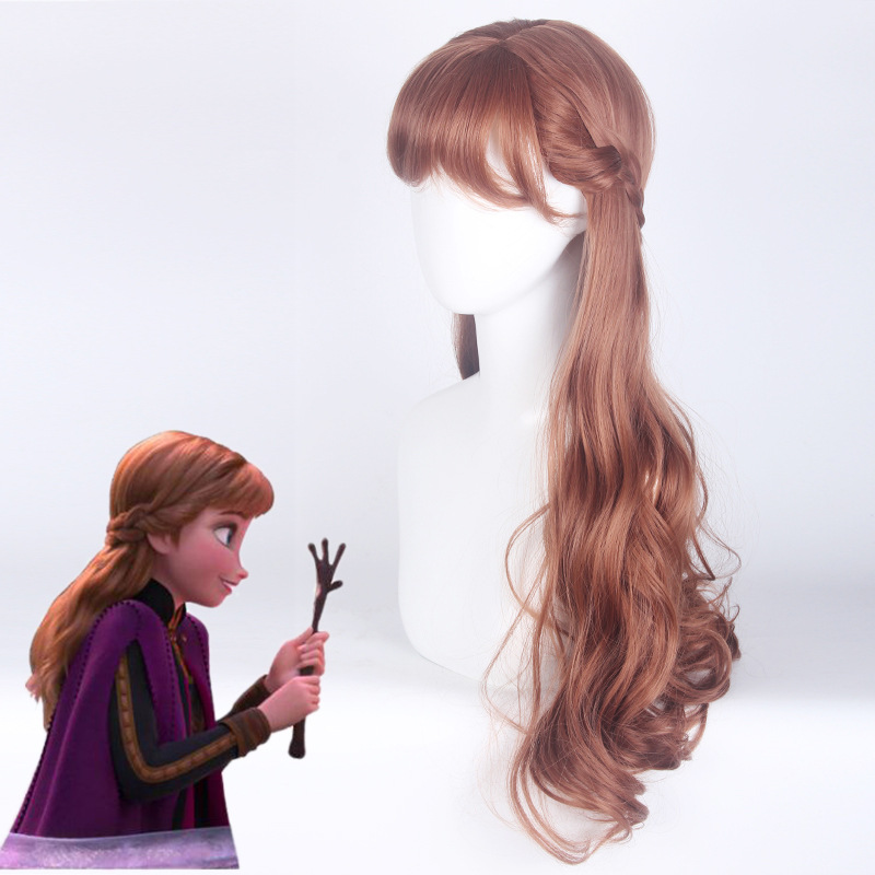 Princess <font><b>Anna</b></font> <font><b>Wig</b></font> <font><b>Frozen</b></font> <font><b>2</b></font> Cosplay Woman 70cm Long Curly Brown <font><b>Wig</b></font> Cosplay Anime <font><b>Wig</b></font> Heat Resistant Synthetic <font><b>Wigs</b></font> Halloween image