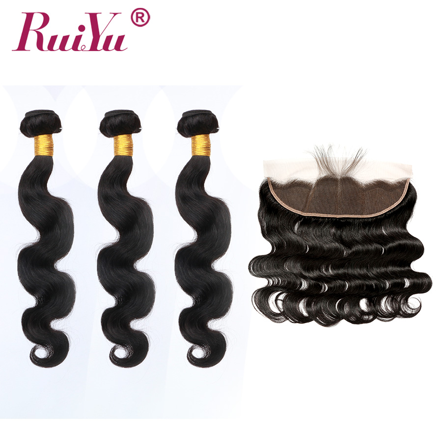 Body Wave Human Hair Bundles With Frontal RUIYU Malaysian Body Wave Ear To Ear 13x4 Lace Frontal With Bundles Deals Remy-in 3/4 Bundles with Closure from Hair Extensions & Wigs    1